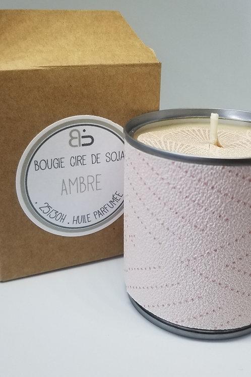Bougie Cire végétale - parfum d'Ambre - Japon - rose