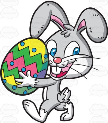 An Easter Bunny carrying a colorful egg