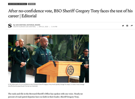 Sun-Sentinel: Sheriff Faces the Greatest of Test of his Character and Career