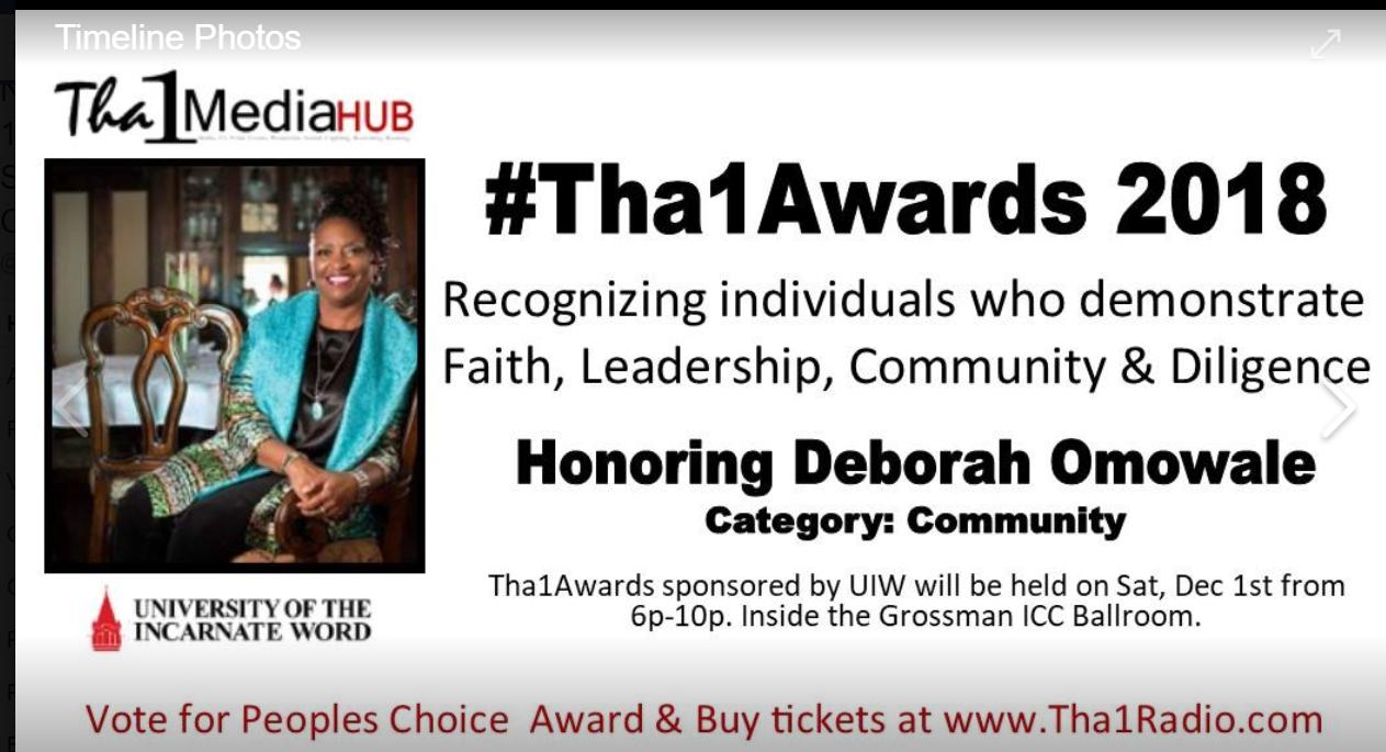 Deborah Omowale Recieves Community Award