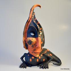 orange lizard sculpture
