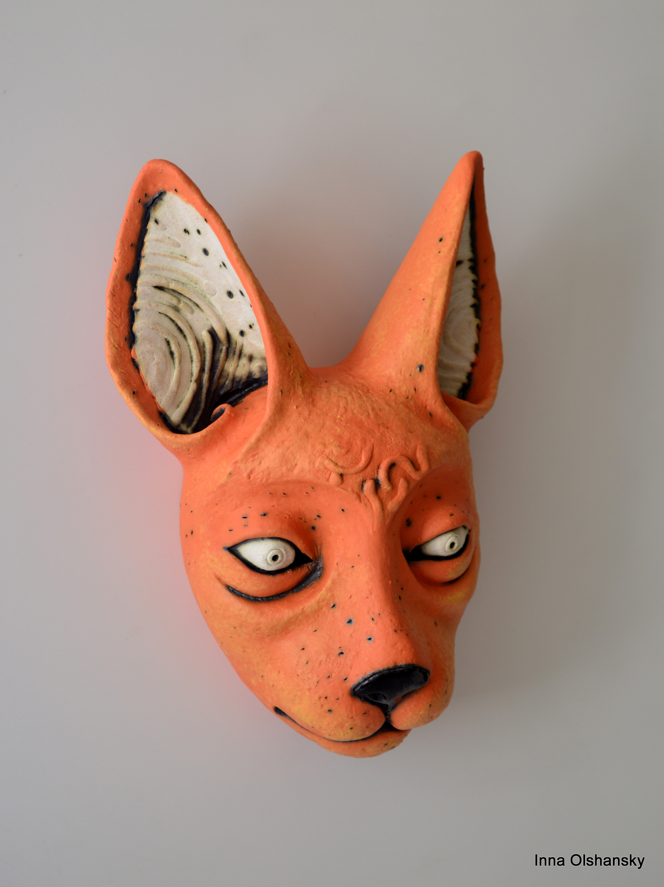 orange cat ceramic mask