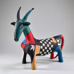 multicolored ram sculpture