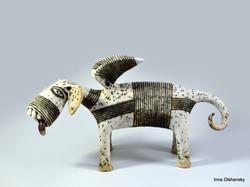 white dog sculpture