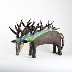 goat with forest on his back, ceramic figurine, animals