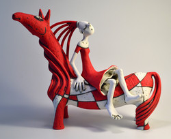 red horse sculpture