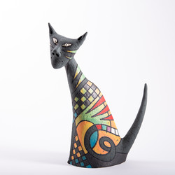 gray cat , ceramic sculpture og colorful cat, funny cat