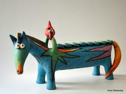 menorah horse ceramic