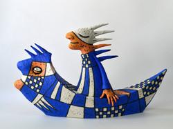 blue boat sculpture