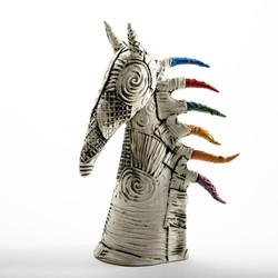 head of white horse, ceramic white horse, unique gift