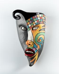 black face fantasy mask, red lips