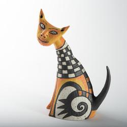 orange cute cat, sitting ceramic cat, orange sculpture