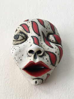 ceramic red white mask human face