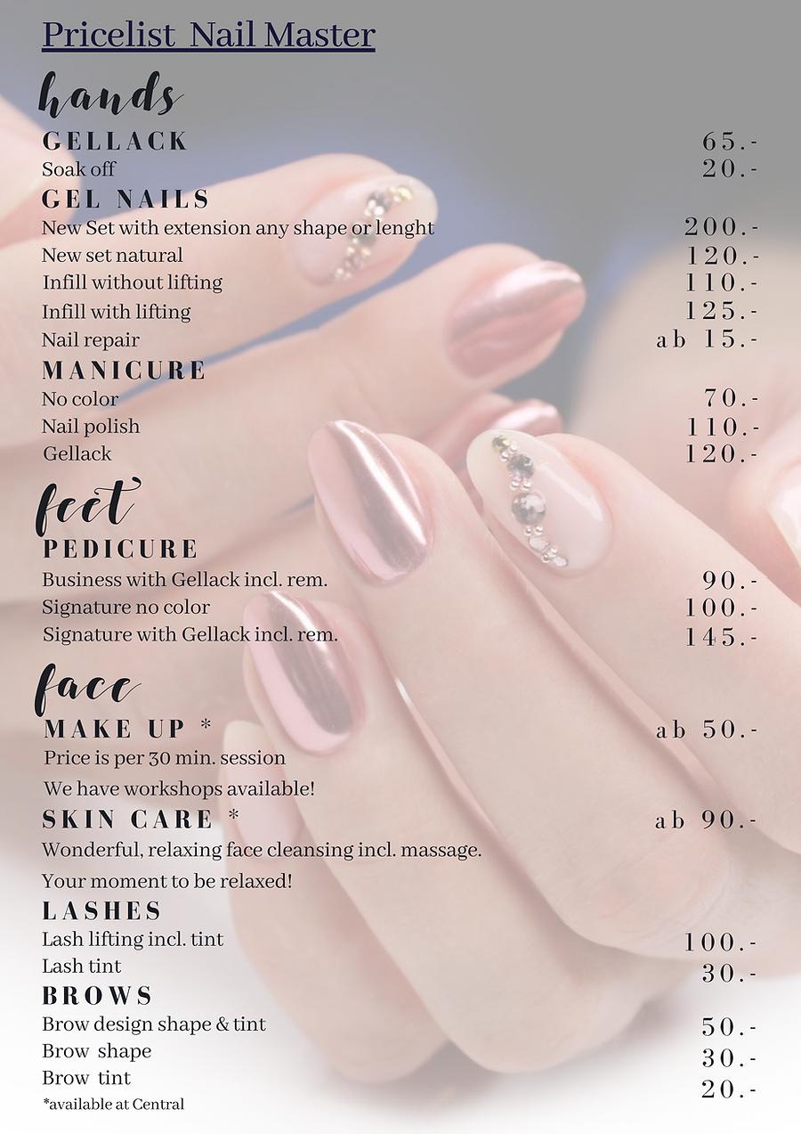 Price list nails
