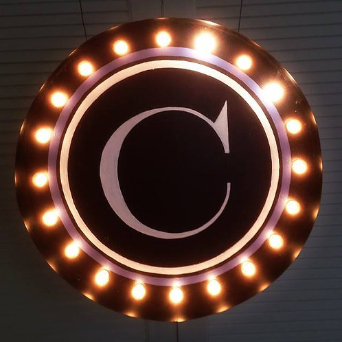 "CUSTOM Monogram Marquee Light Up Sign 36"" Round-Ha"