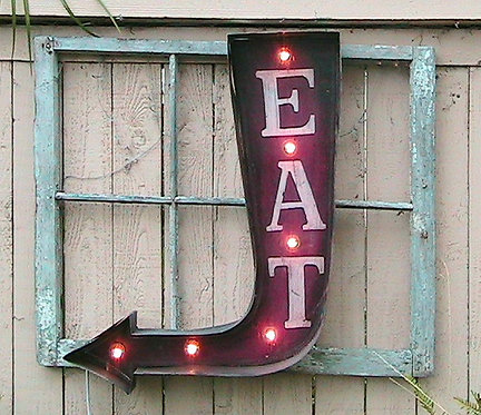 EAT Arrow Vintage Marquee Light Up Sign!