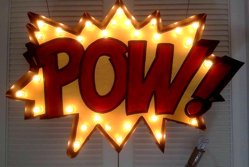"36"" POW Comic Bubble Marquee Sign-Custom Colors"