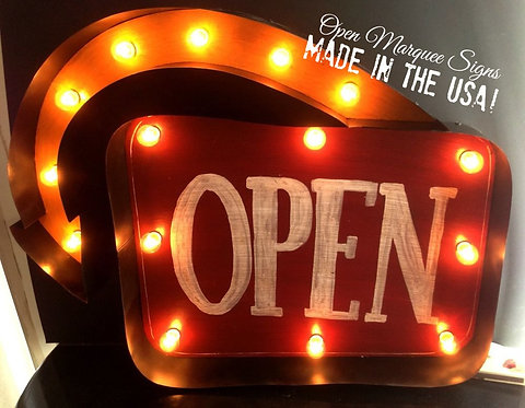 Open Arrow Marquee Sign