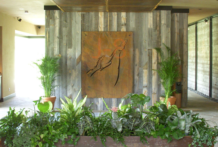 Steel Waterfall with Flower Box and Plaque Behind