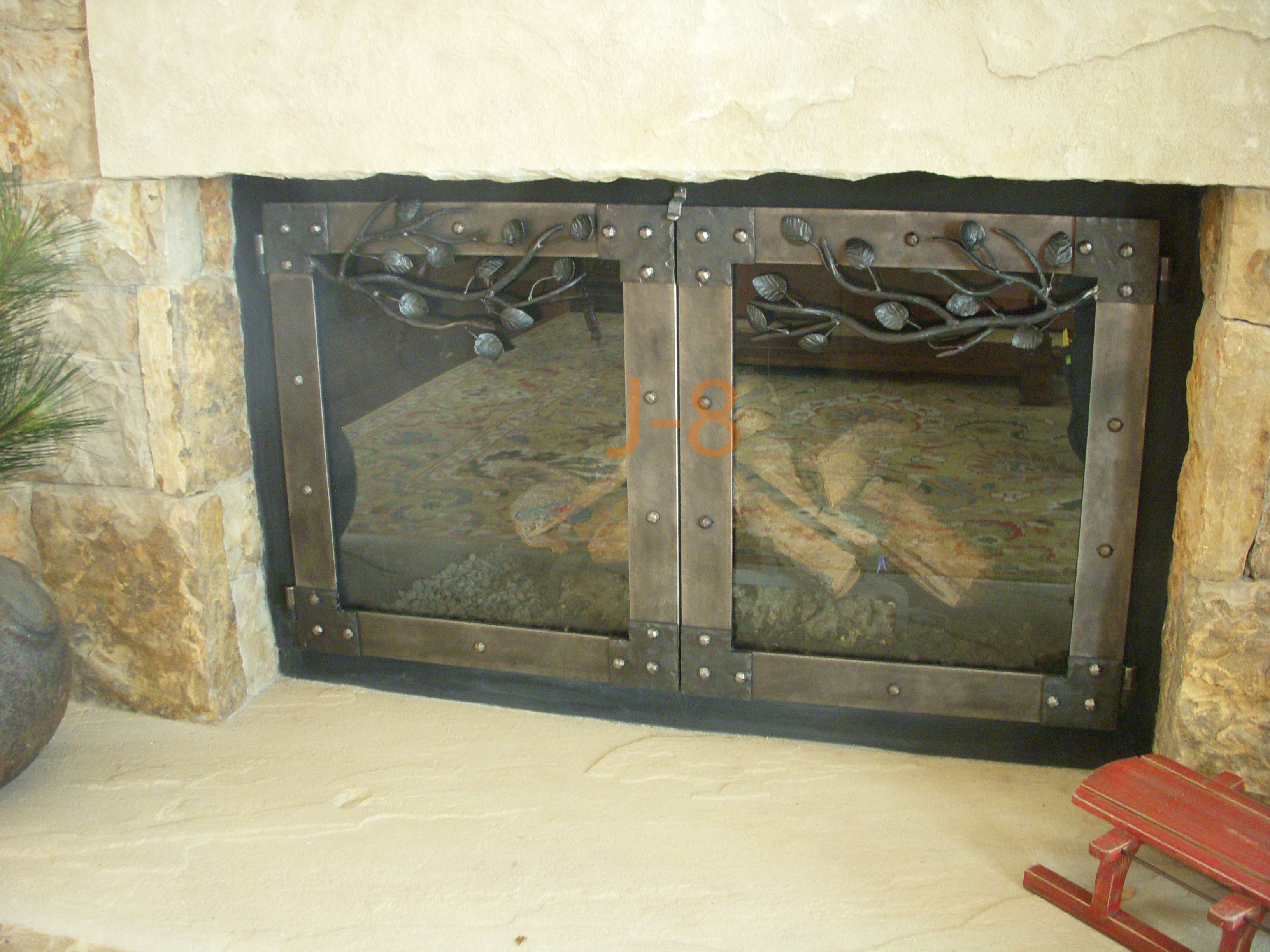 Branch's w/Leaves Fireplace Doors