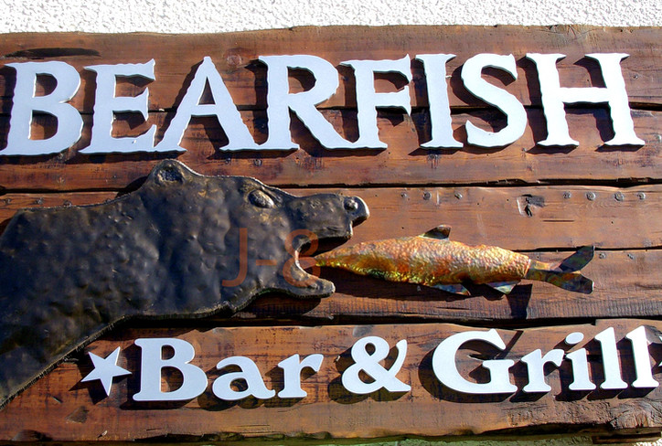 Hammered Steel Bear and Fish