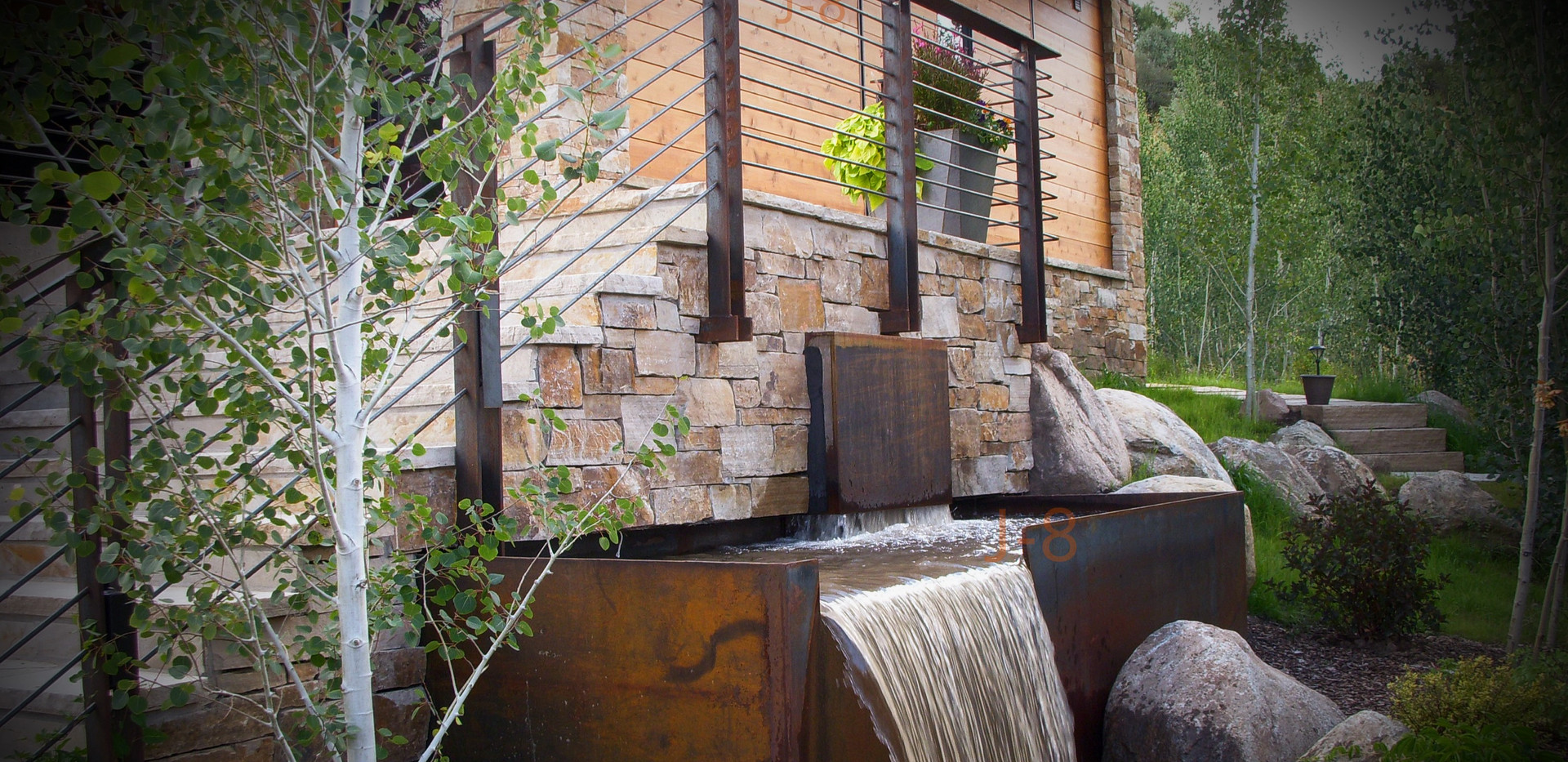 Waterfall and Railing