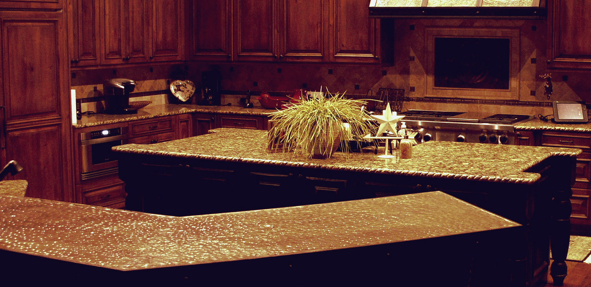 Copper Bar Top and Banded Stove Hood