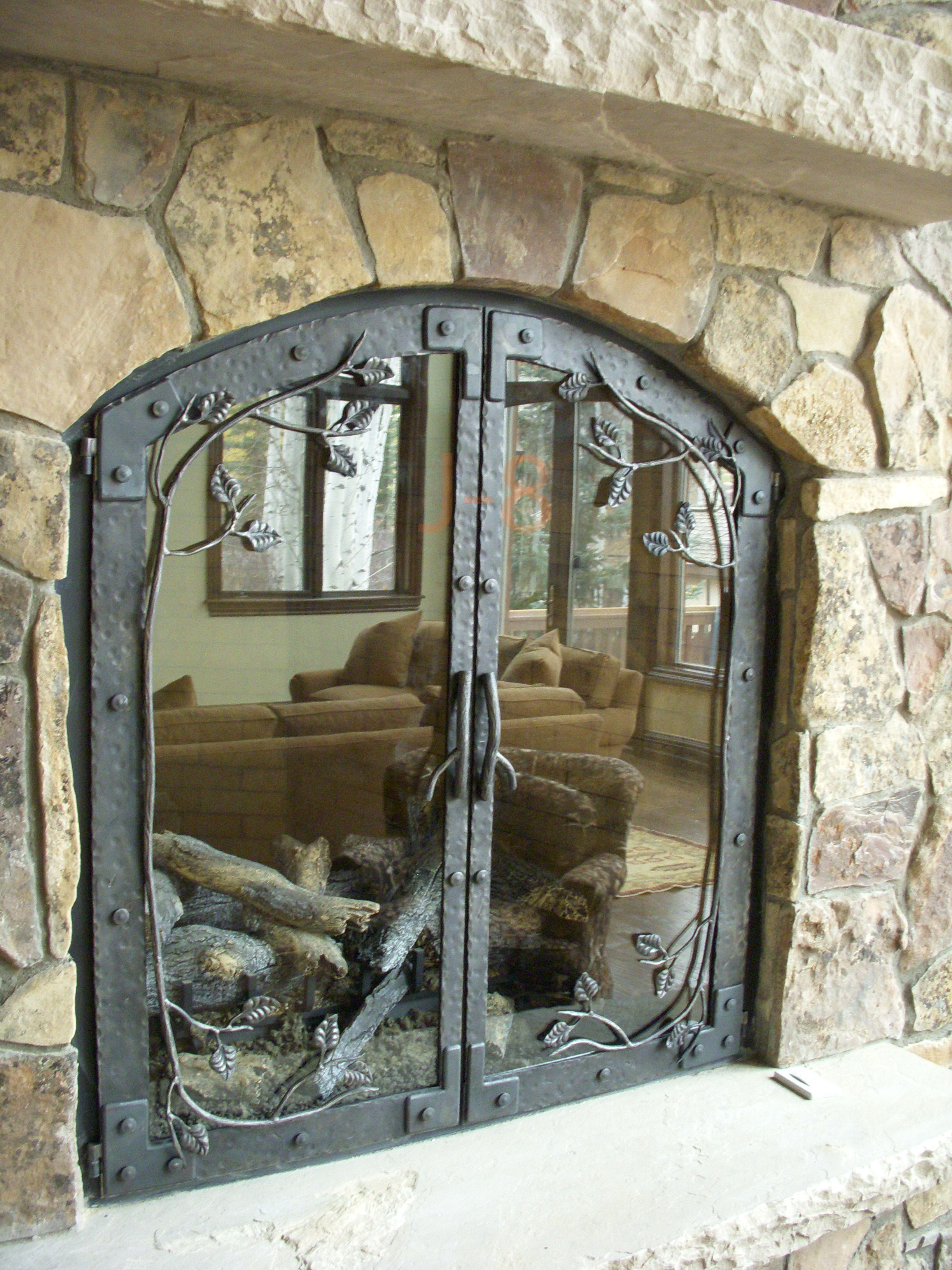 Arched Aspen Leaf Fireplace Doors