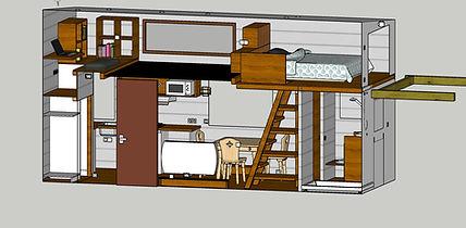 plan aménagement intérieur tiny houe canopée