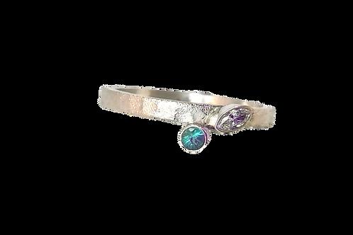 Zilveren ring met Smaragd en Swarovski