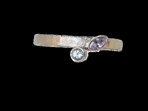 Zilveren ring met Topaas en Amethist