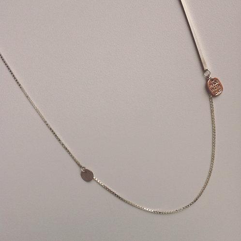 Zilveren ketting met staafje en 2 bedels