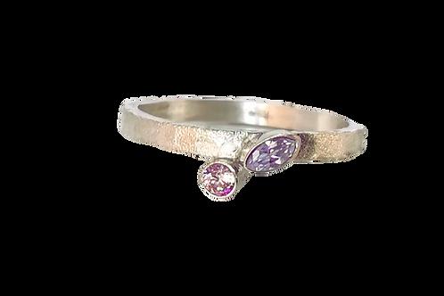 Zilveren ring met Morganite en Amethist