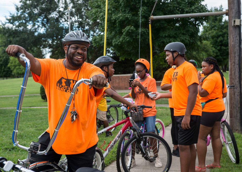 Sept.1, 2018. Terry Key prepares with the Edgehill Bike Club to ride in Nashville's Labor Day Parade. Key, 45, started the bike club in 2013 after seeing the absence of community in his neighborhood.