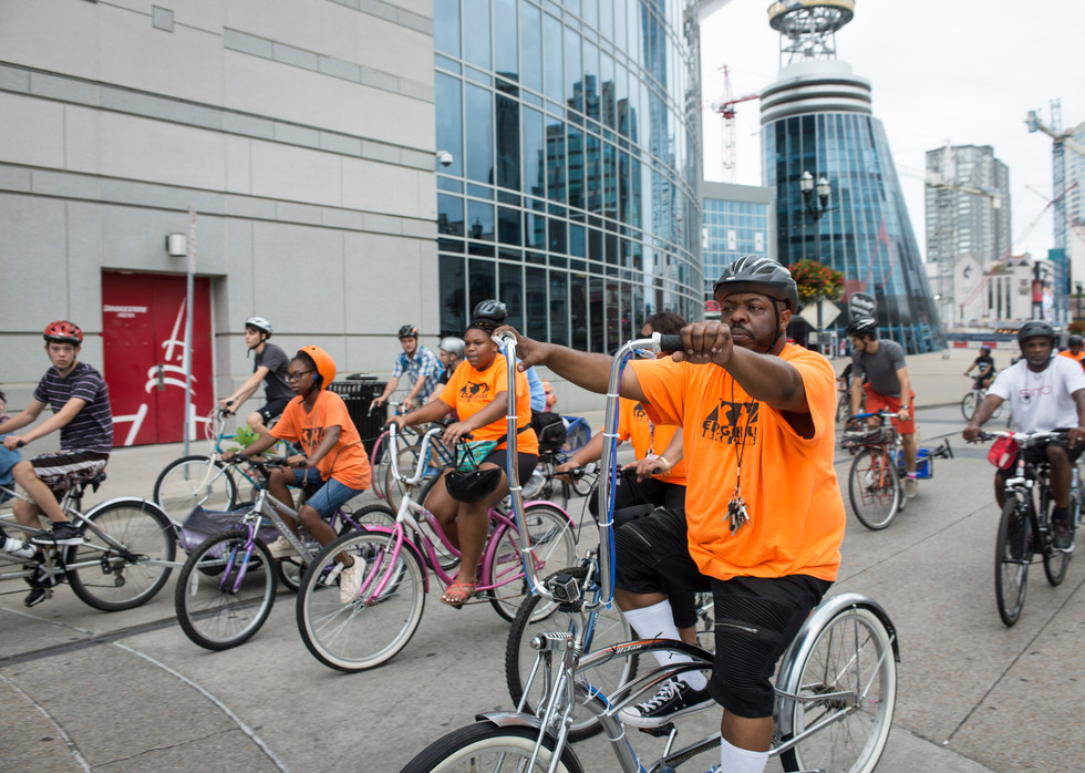 Key rides in Downtown Nashville with his bike club during the Labor Day Parade.