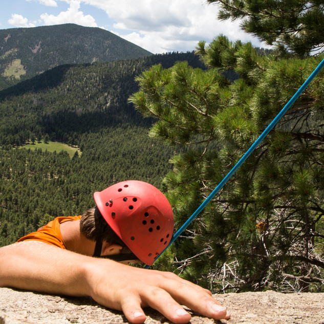 Scouts participate in Miner Parks' rock climbing camp.