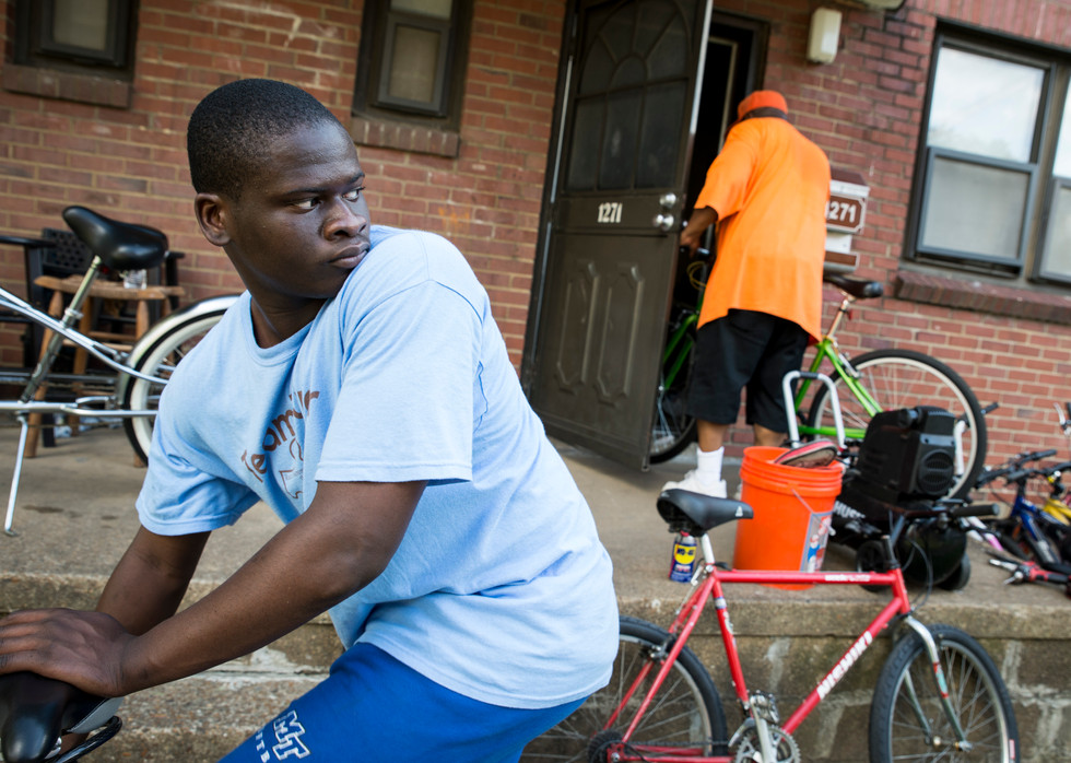 Key offers the kids in his club a place to work on their bikes.
