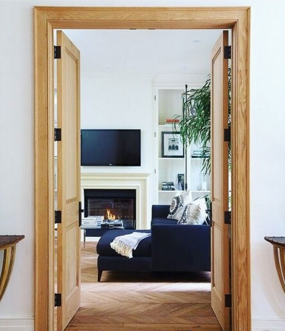 living room doors fireplace