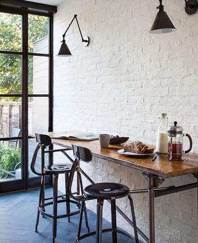 bistro kitchen white brick wall