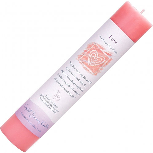 LOVE Reiki Herbal Charged Pillar Candle