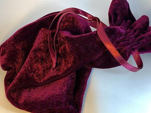 Velvet Drawstring Bag - Burgundy