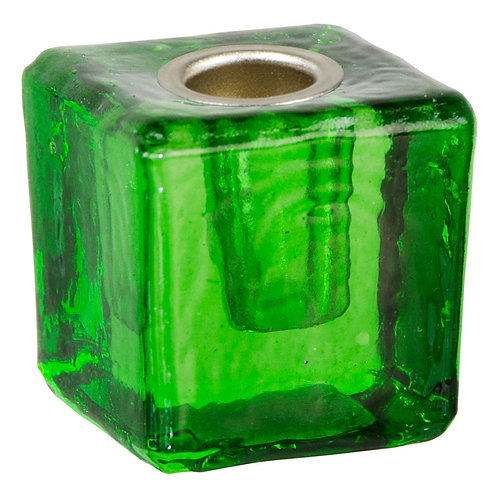 Green Glass Cube Ritual Candle Holder