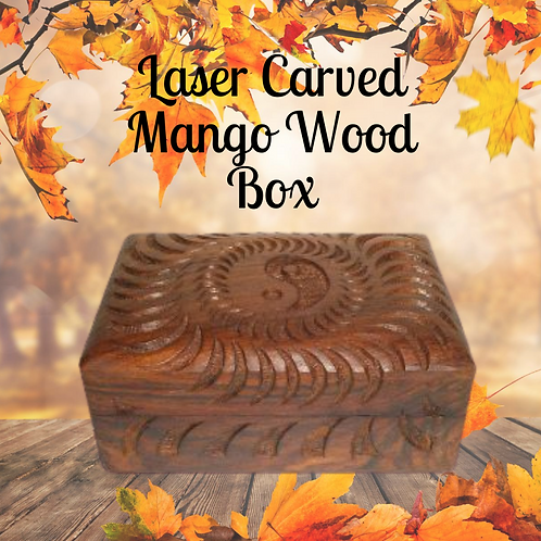 Carved Wooden Box - Yin Yang Spiral