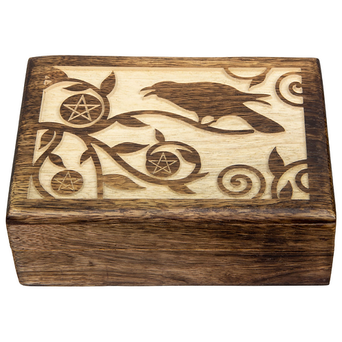 Carved Wood Box - Raven with Pentacles