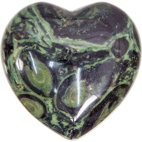 Puffed Gemstone Heart - Kambaba Jasper