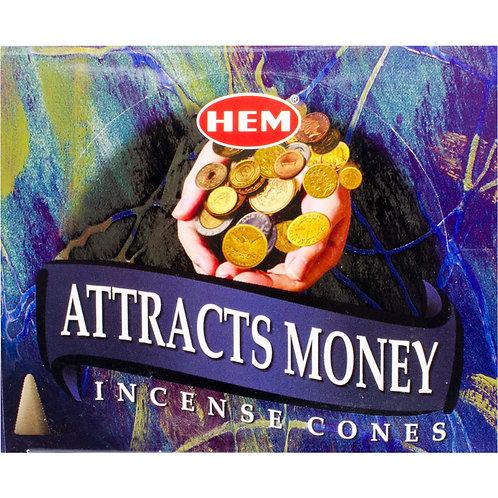 Incense Cones, Attracts Money (Box of 10)