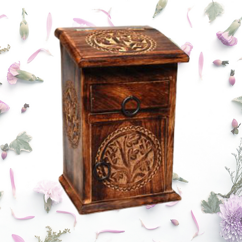 Carved Wooden Herb Chest - Tree of Life