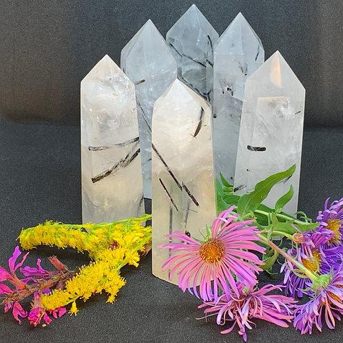 Polished Tourmalated Quartz Crystals