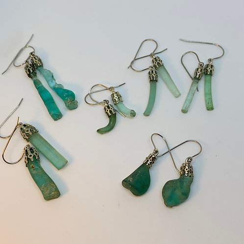 Sterling Silver & 200-Year-Old Peterboro Glass Earrings
