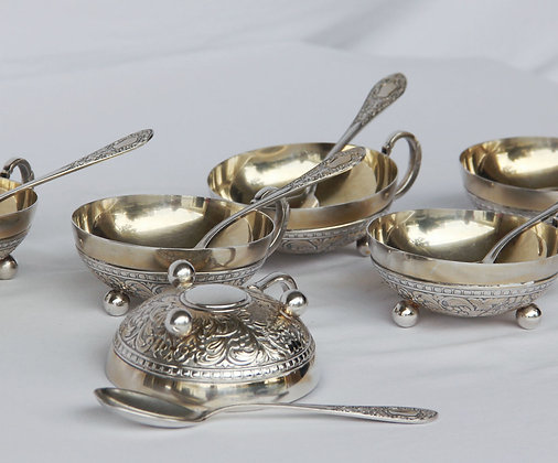 Taças de Sobremesa com Colher Prata Eberle